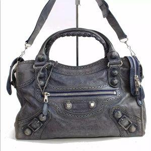 Blue Leather Balenciaga Editor Bag with strap